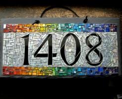 Rainbow Mosaic House Number 1408