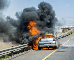 Car On Fire in Midrand, Johannesburg