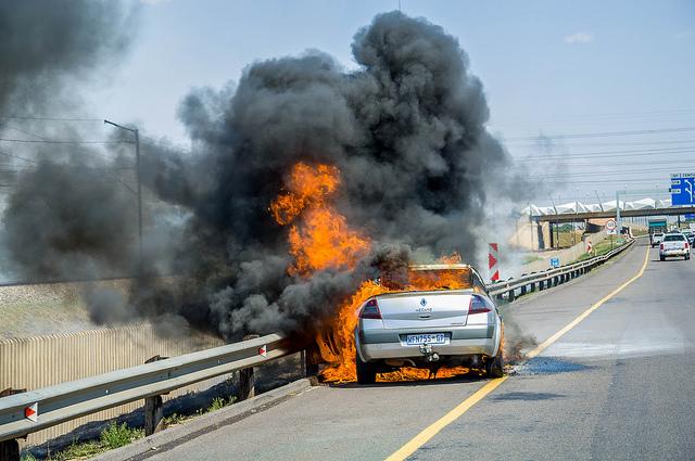 Car On Fire in Midrand, Johannesburg