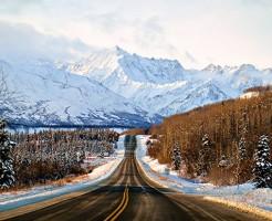 Winter drive along the Glenn Highway