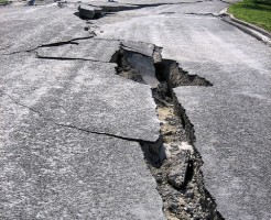 Earthquake damage - road